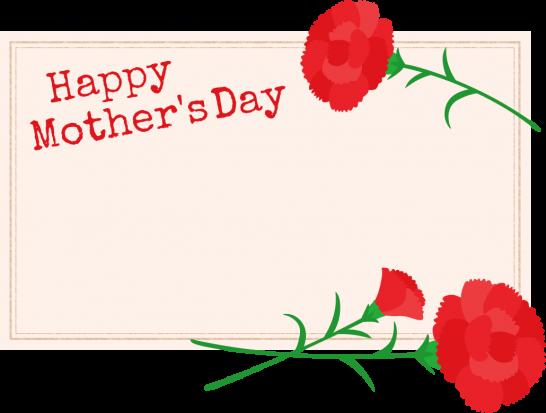 【可愛い母の日イラスト】メッセージカードとカーネーション<赤>