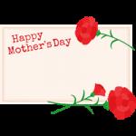 【可愛い母の日イラスト】メッセージカードとカーネーション