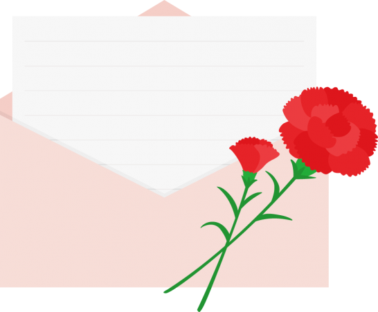 カーネーションを飾った便箋入り封筒イラスト<赤>
