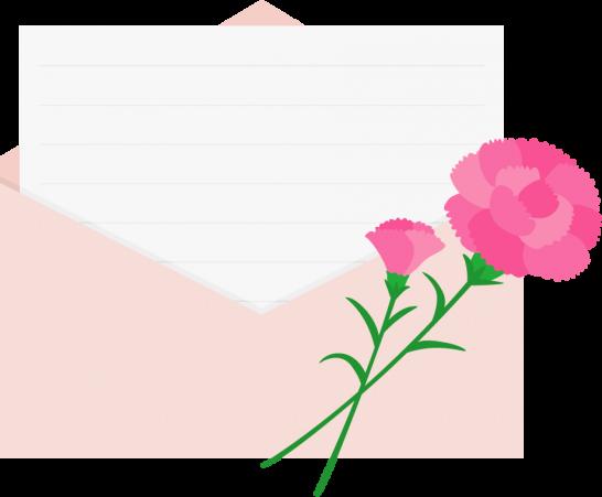 カーネーションを飾った便箋入り封筒イラスト<ピンク>