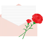 【母の日イラスト】カーネーションを飾った便箋入り封筒
