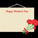 【母の日イラスト】カーネーションを飾った木製看板(掲示板)