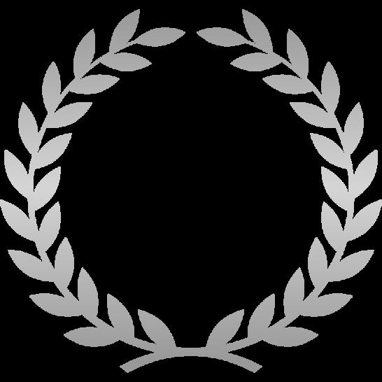 月桂樹(月桂冠)のフレーム枠イラスト<銀・シルバー>