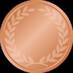 銅メダルフレーム枠イラスト<月桂樹(月桂冠)入り>