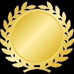 月桂樹(月桂冠)のエンブレムフレーム枠イラスト<金・ゴールド>