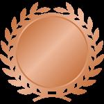 月桂樹(月桂冠)のエンブレムフレーム枠イラスト<銅・ブロンズ>