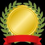 月桂樹(月桂冠)とリボンを飾った金メダルフレーム枠イラスト