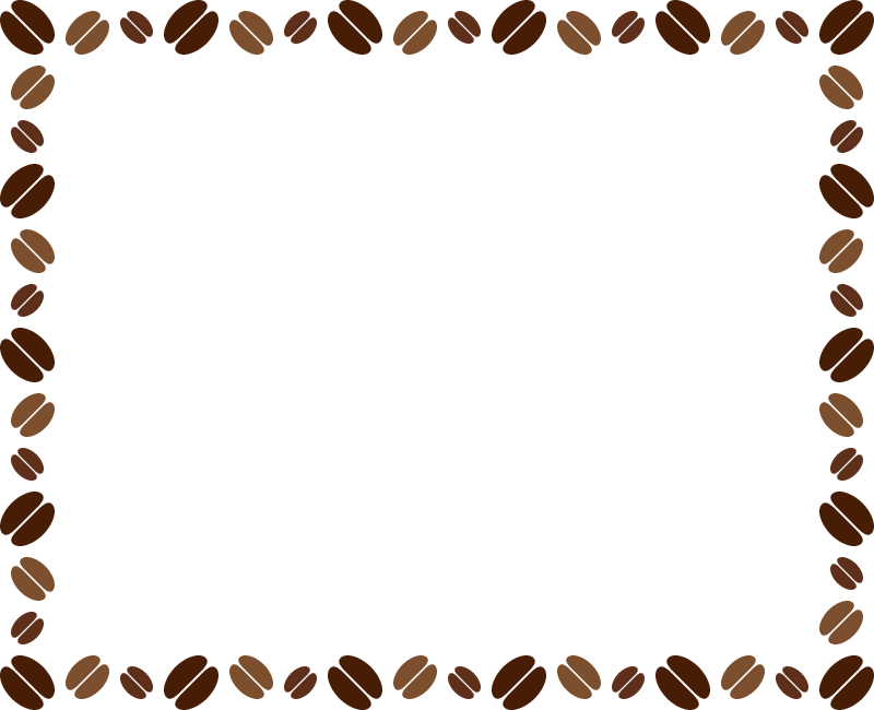 コーヒー豆のフレーム飾り枠イラスト<長方形>