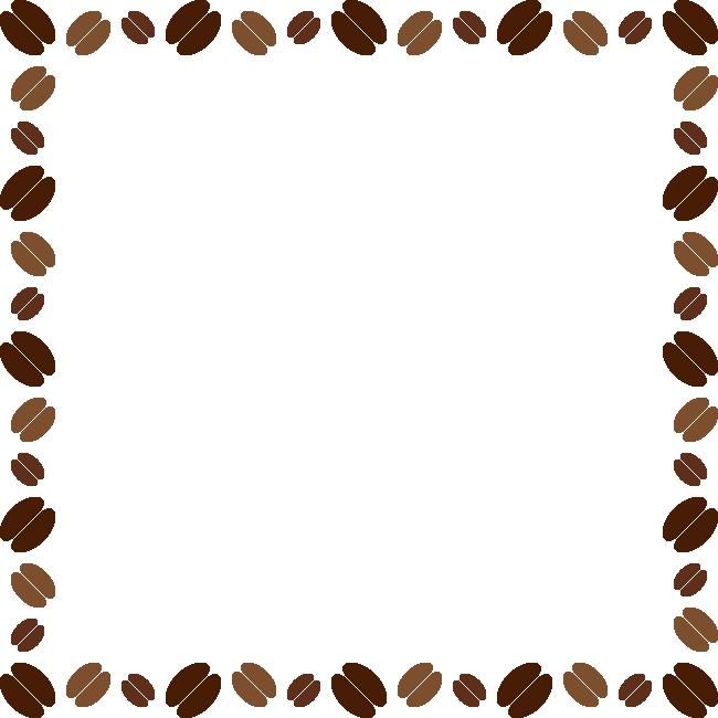コーヒー豆のフレーム飾り枠イラスト<正方形>