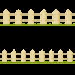 木製の柵(フェンス)のライン飾りイラスト