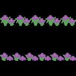 花菖蒲・杜若(はなしょうぶ/あやめ/かきつばた)のライン飾り罫線イラスト