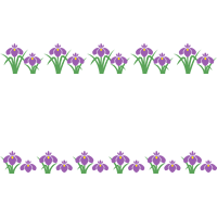 菖蒲・杜若(しょうぶ/あやめ/かきつばた)のライン飾り罫線イラスト