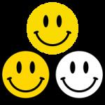 ニコちゃんマーク(ニコニコマーク・スマイルマーク)のイラスト<黄色・白黒>