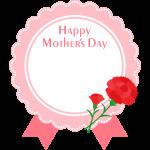 【母の日】可愛いメッセージラベル風の丸型フレーム枠イラスト