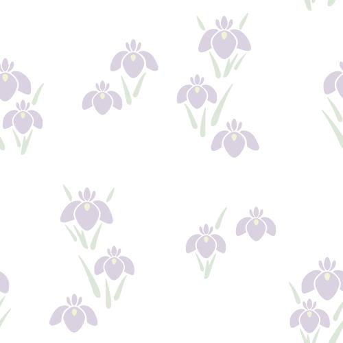 菖蒲(しょうぶ・あやめ)の背景パターン素材<白>