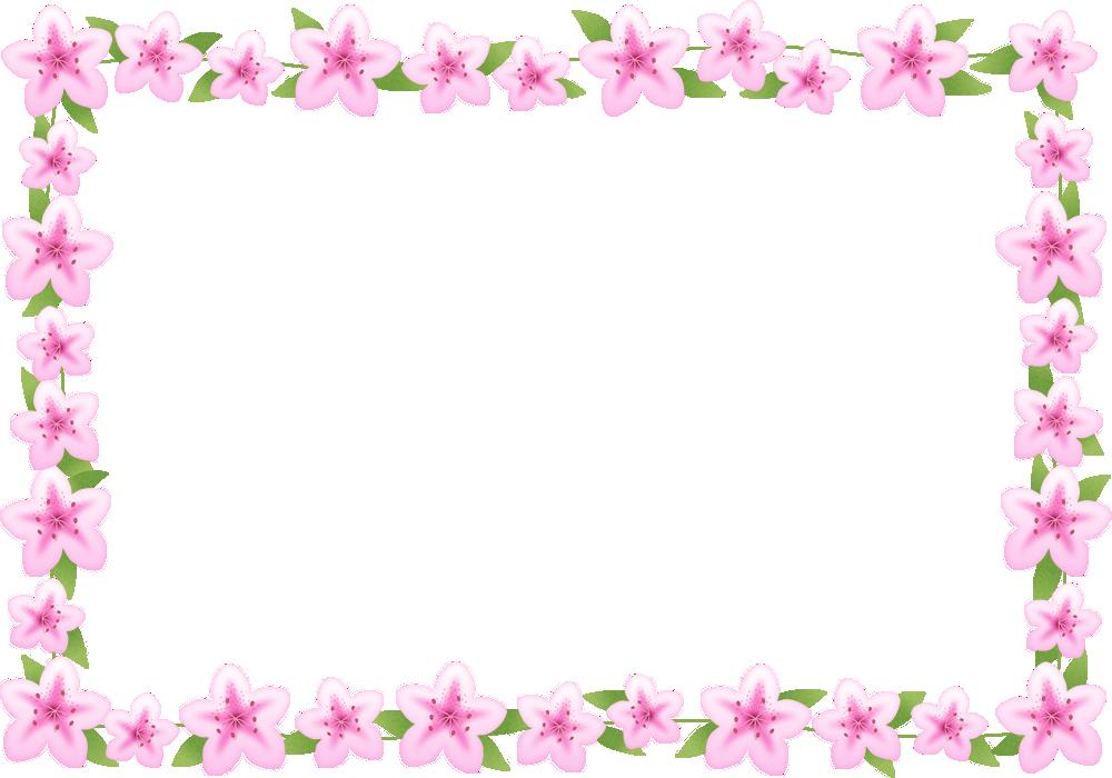 つつじ(躑躅)のフレーム囲み枠イラスト<長方形>