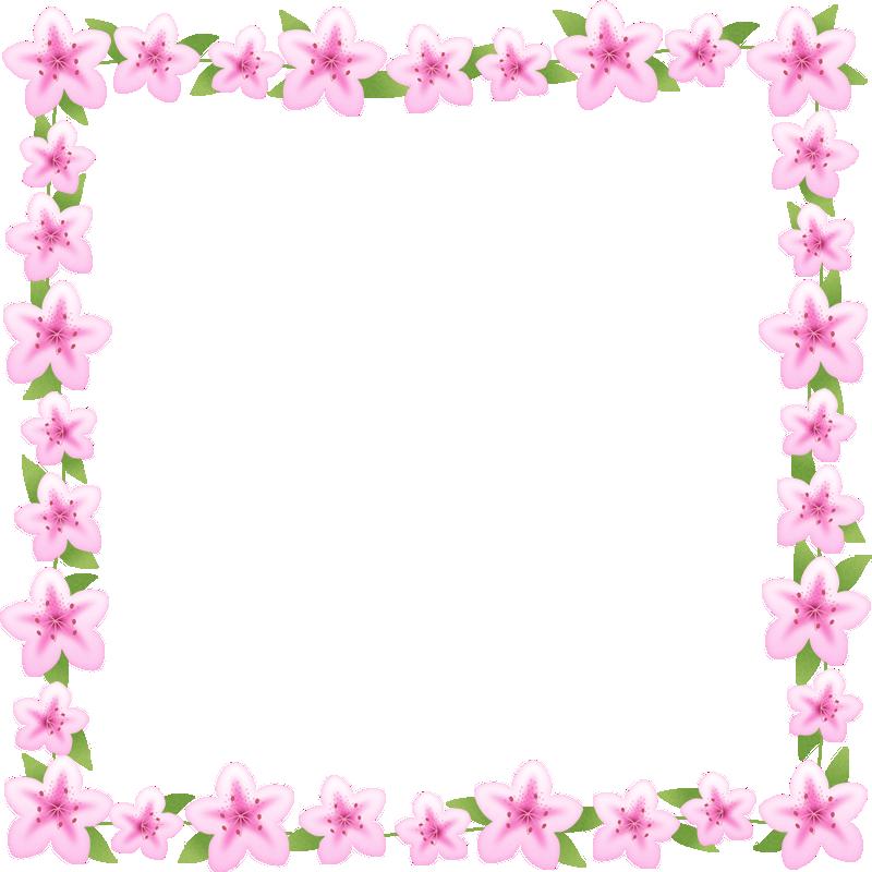 つつじ(躑躅)のフレーム囲み枠イラスト<正方形>
