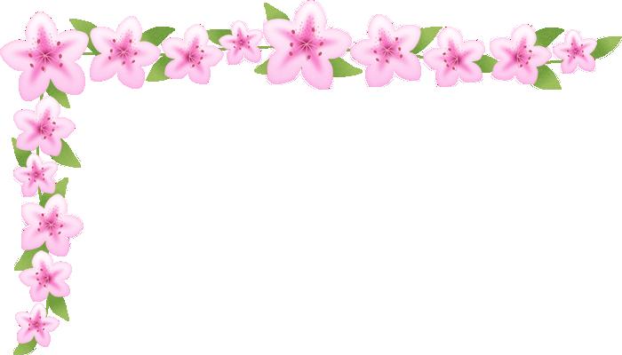 つつじ(躑躅)の花のコーナー飾り枠フレームイラスト<小>