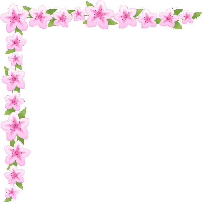 つつじ(躑躅)の花のコーナー飾り枠フレームイラスト<大>