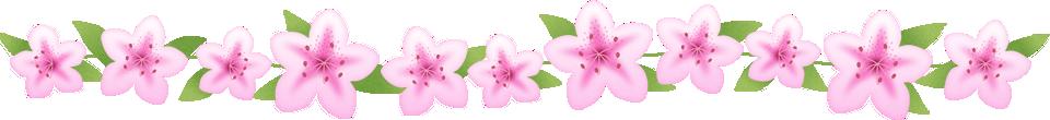 つつじ(躑躅)の花のライン飾り罫線イラスト<大>