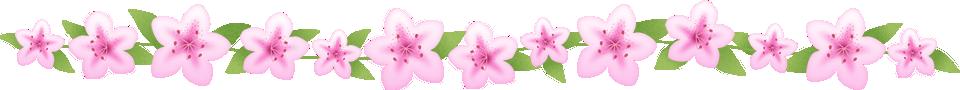 つつじ(躑躅)の花のライン飾り罫線イラスト<小>