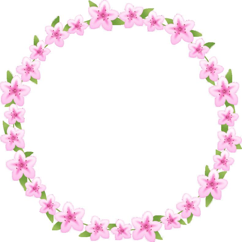つつじ(躑躅)の花のリースイラスト<大>