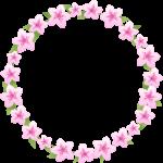 つつじ(躑躅)の花のリース風フレーム枠イラスト