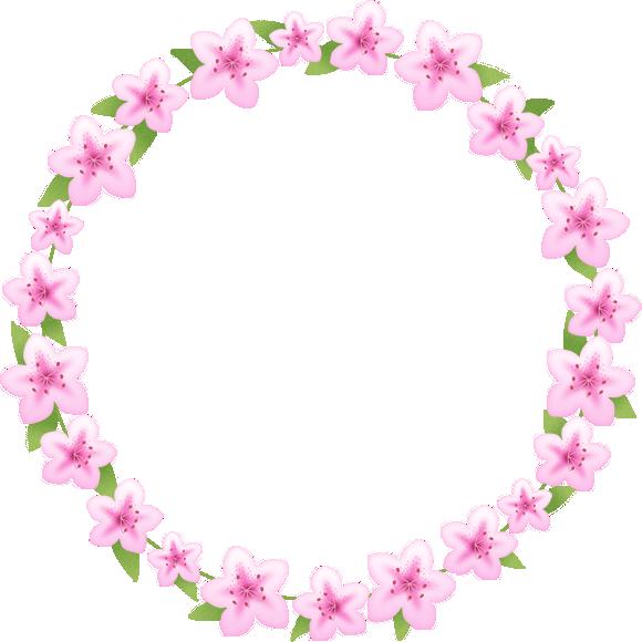 つつじ(躑躅)の花のリースイラスト<小>