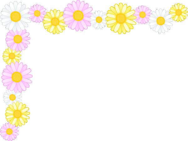 マーガレットの花のコーナー飾り枠フレームイラスト<小>
