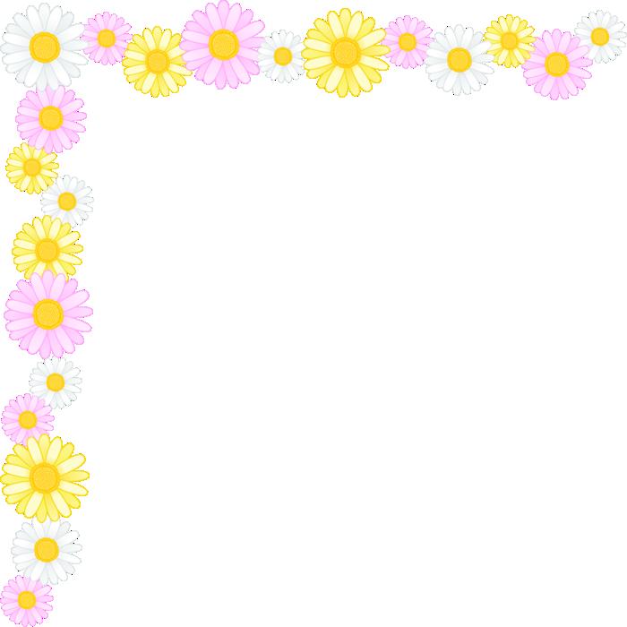 マーガレットの花のコーナー飾り枠フレームイラスト<大>