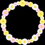 マーガレットの花のリース風フレーム枠イラスト