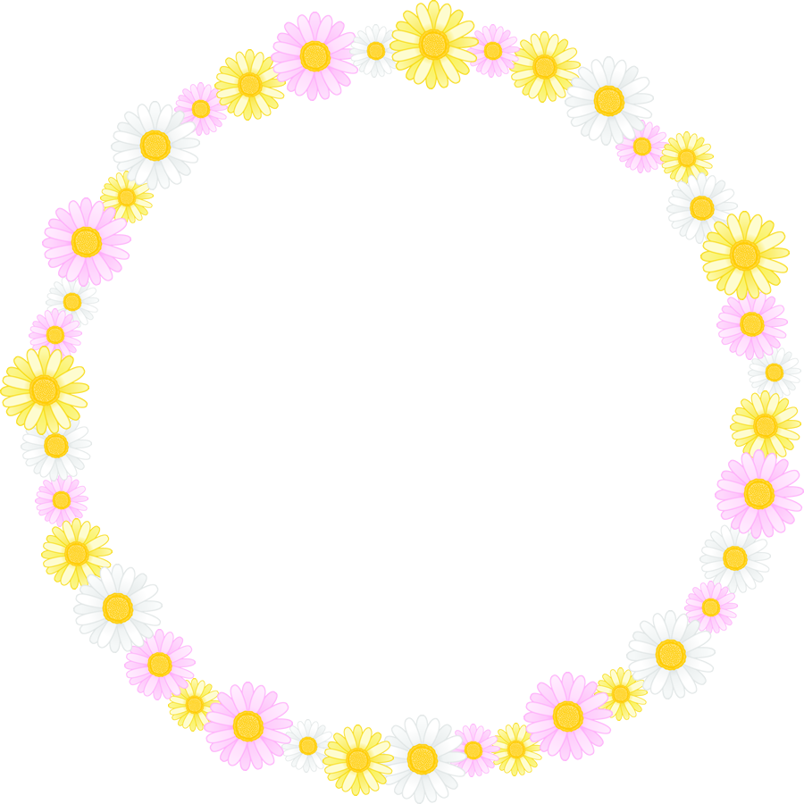 マーガレットの花のリースイラスト<大>
