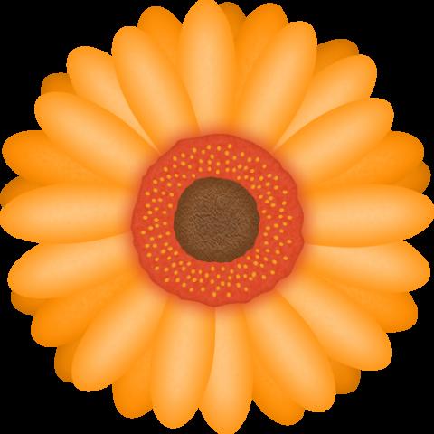 ガーベラの花のイラスト<オレンジ色>