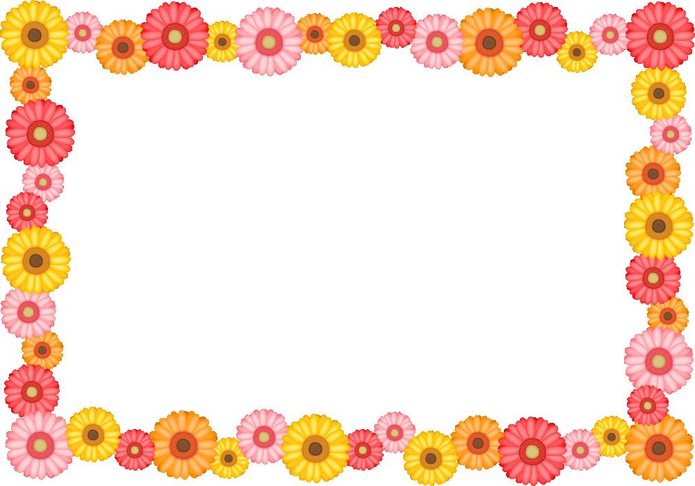 ガーベラの花のフレーム囲み枠イラスト<長方形>