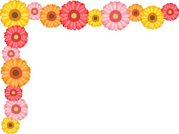 ガーベラの花のコーナー飾り枠フレームイラスト<小>