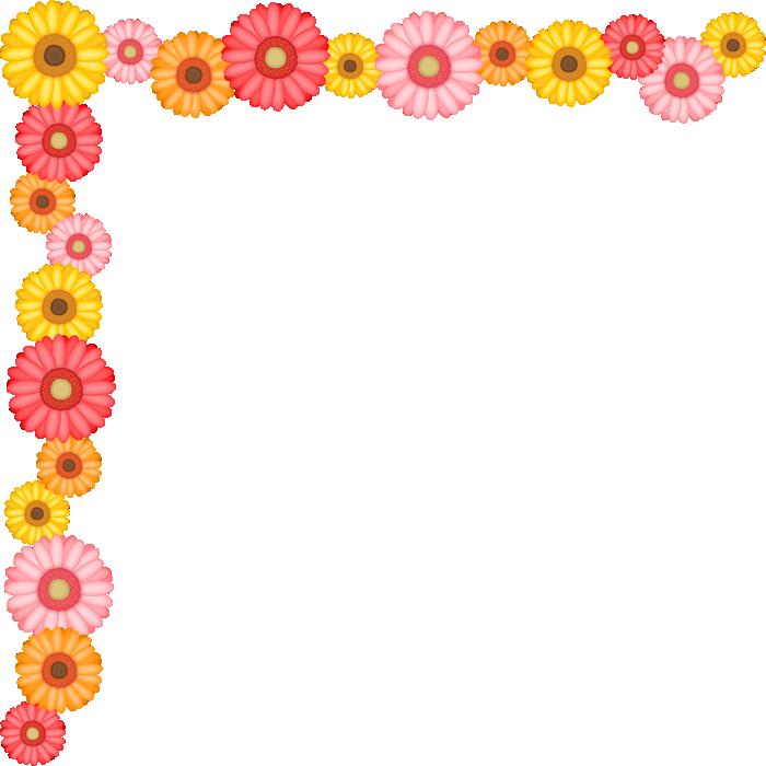 ガーベラの花のコーナー飾り枠フレームイラスト<大>