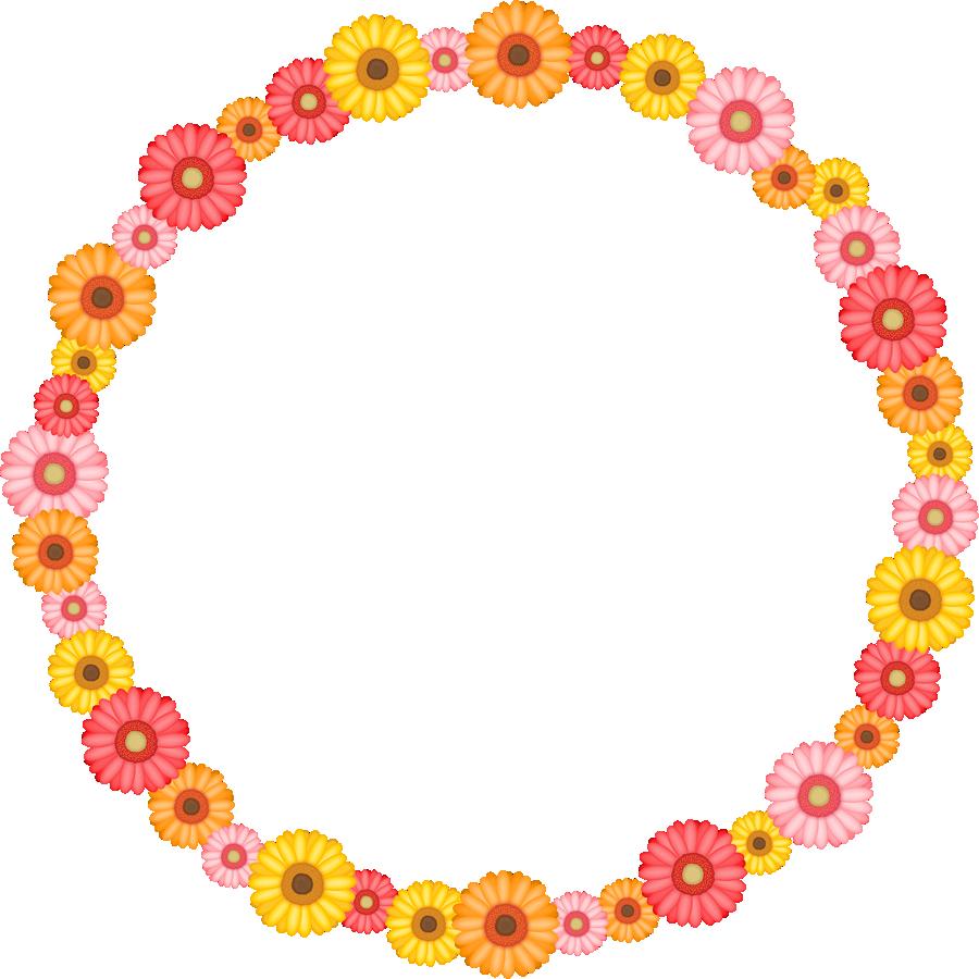 ガーベラの花のリース風フレーム枠イラスト | 無料フリーイラスト素材集