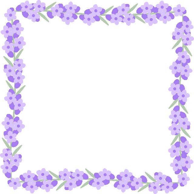 ラベンダーの花のフレーム囲み枠イラスト<正方形>