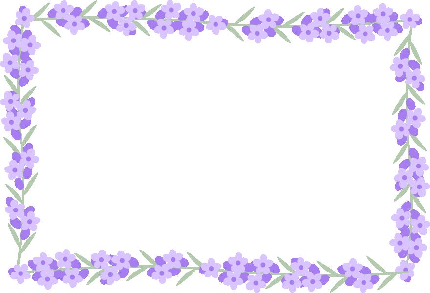 ラベンダーの花のフレーム囲み枠イラスト<長方形>