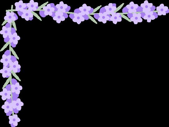 ラベンダーの花のコーナー飾り枠フレームイラスト<小>
