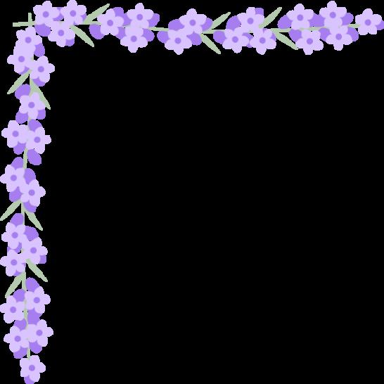 ラベンダーの花のコーナー飾り枠フレームイラスト<大>