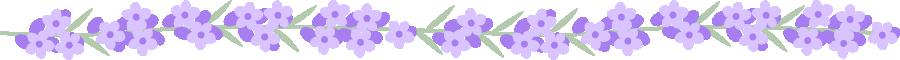 7703bラベンダーの花のライン飾り罫線イラスト<小>
