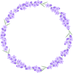ラベンダーの花のリース風フレーム枠イラスト