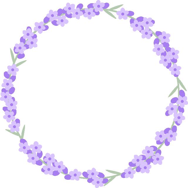 ラベンダーの花のリースイラスト<小>