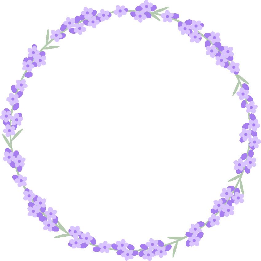 ラベンダーの花のリースイラスト<大>