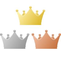 シンプルな王冠イラスト<金・銀・銅>