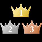 シンプルな王冠イラスト<ランキング1位・2位・3位>