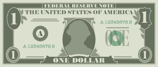 1ドル札(1$紙幣)のイラスト