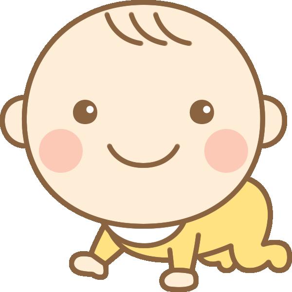 ハイハイするかわいい赤ちゃん(赤ん坊)のイラスト