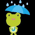 傘をさすカエルのイラスト